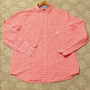 Men's XL Chaps Red and White Checkered button down